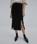 CURTAIN SKIRT BLACK (WOOL CABLE KNIT SKIRT)