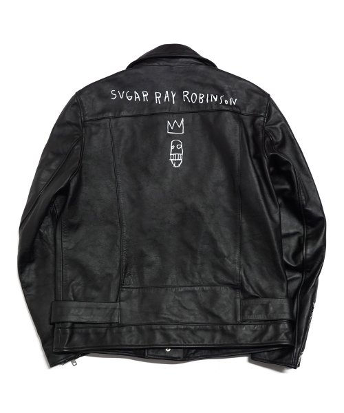 [EASY BUSY x JMB] JMB Crown Logo Leather Jacket - Black