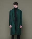 Wool 2Bent Hidden 3Button Long Coat - GREEN