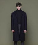 Wool 2Bent Hidden 3Button Long Coat - NAVY