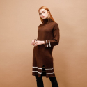 LINE SLIT TURTLENECK KNIT ONEPIECE_BROWN