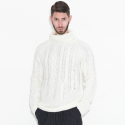 Dozen Strand Knit Turtleneck Pullover (White)