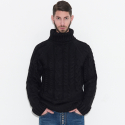 Dozen Strand Knit Turtleneck Pullover (Black)