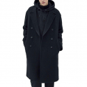 IL CORSO Sinclair Cashmere Melton Super Over Long Ripper Collar Double Coat IECO7F203BK