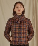 #.2 WOMEN TARTAN CHECK DOWN JACKET BROWN
