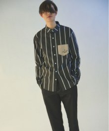 MGI black tailored stripe shirts