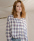 몬츠(monts) monts623 soft check v-neck blouse