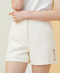 Side Button Pinstriped Shorts - ivory