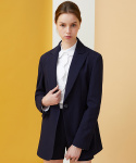 Peaked Lapel Pinstriped Jacket - navy+red