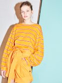 LONG SLEEVE CURVED TOP MUSTARD