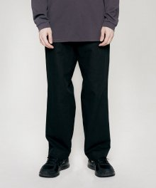 WIDE BANDING WOOL PANTS black