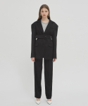 18SS OVERSIZED DROP-SHOULDER BLAZER WITH BELT - BLACK