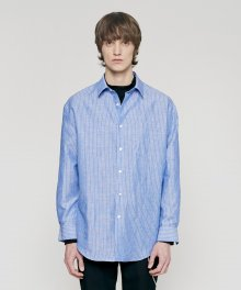 LINEN OVERSIZE STRIPE SHIRT blue
