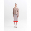 문희(MOONHEE) Multicolor Stripes Ribbed Knit SkirtBEIGE