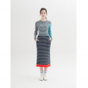 문희(MOONHEE) Multicolor Stripes Ribbed Knit SkirtDARK NAVY