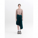문희(MOONHEE) Asymmetrical Pleated Knit SkirtGREEN