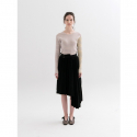 문희(MOONHEE) Asymmetrical Pleated Knit SkirtBLACK