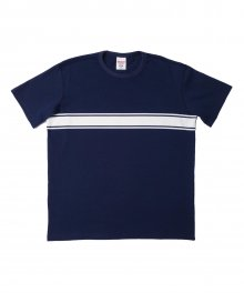 STRIPE BORDER SHORT SLEEVE (NAVY)