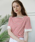 살롱 드 욘(SALON DE YOHN) Short Sleeve Stripe T_Red