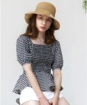 살롱 드 욘(SALON DE YOHN) Gingham Check Blouse