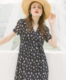 Dot Flower Dress_Navy