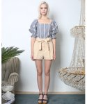 뮤즈바이로즈(MUSE BY ROSE) PUFF SLEEVE STRIPED BLOUSE [BLUE]