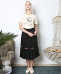 뮤즈바이로즈(MUSE BY ROSE) SEE-THRU PLEATED SKIRT