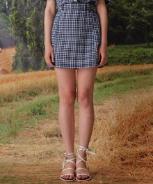 mgmg check basic skirt_navy