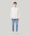 STAND COLLAR LINEN SHIRTS(WHITE)