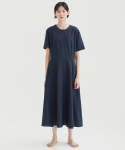 Linen Flared Dress - Navy