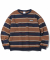 Multi Striped Crewneck Navy/Brown