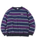 디스이즈네버댓(THISISNEVERTHAT) Multi Striped Crewneck Navy/Purple