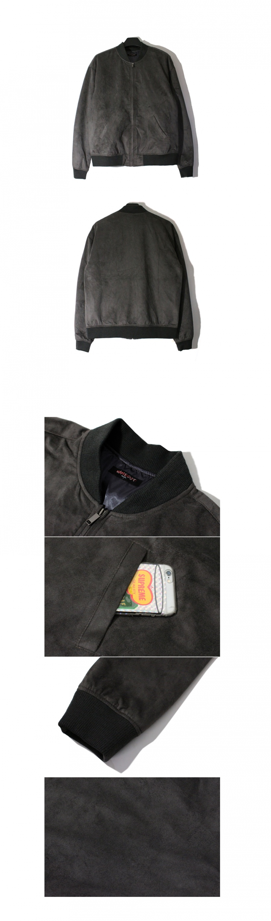 네임아웃(NAMEOUT) Oversized Suede Blouson Jacket - Charcoal
