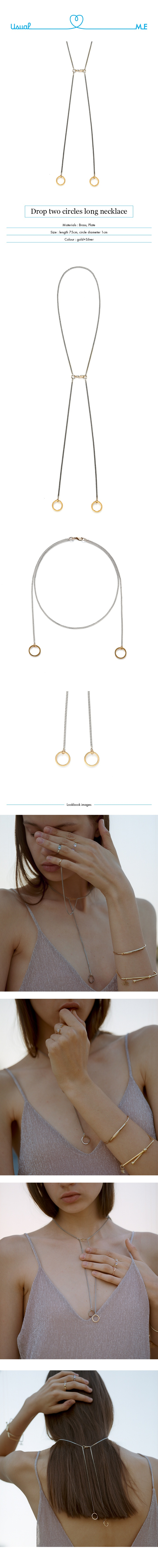 먼데이에디션(MONDAY EDITION) [usual M.E] drop two circles long necklace