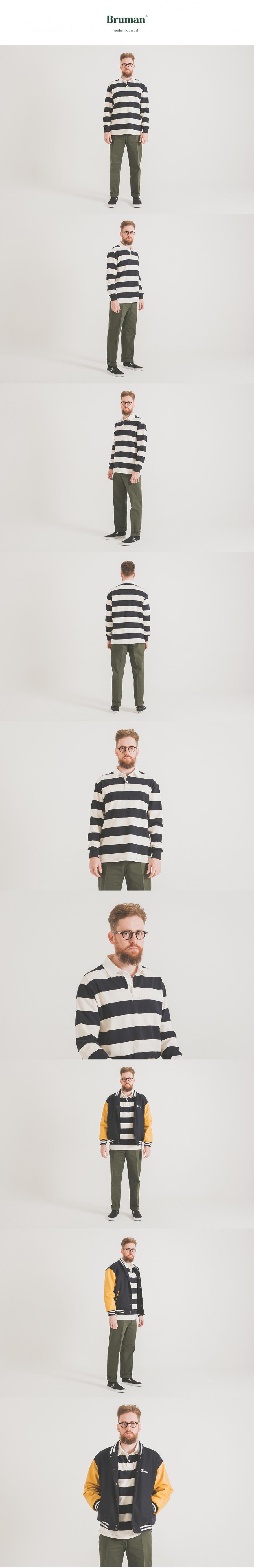 브루먼(BRUMAN) 럭비티셔츠 (네이비/아이보리)