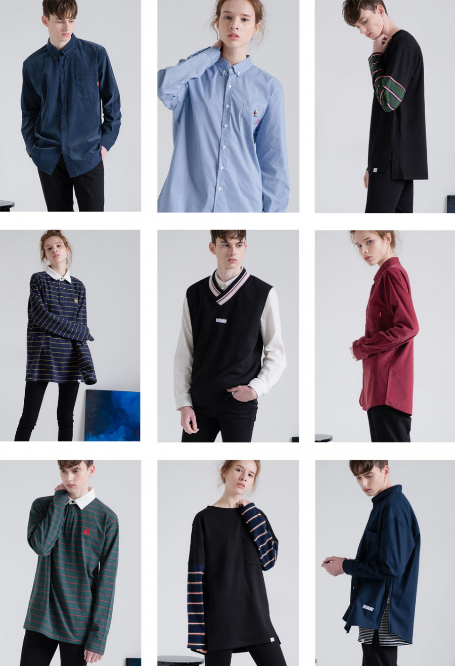 미나브(MINAV) [UNISEX] 코듀로이 드랍 셔츠 네이비
