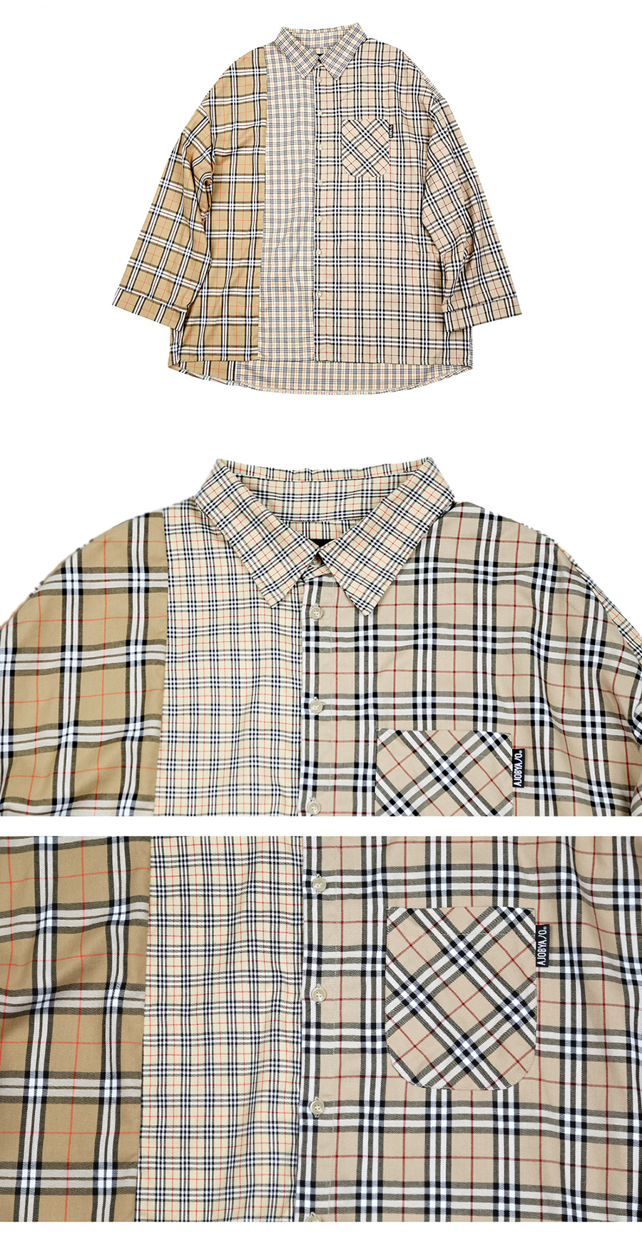 아조바이아조(AJOBYAJO) Over Check Mixed Shirt (Beige)