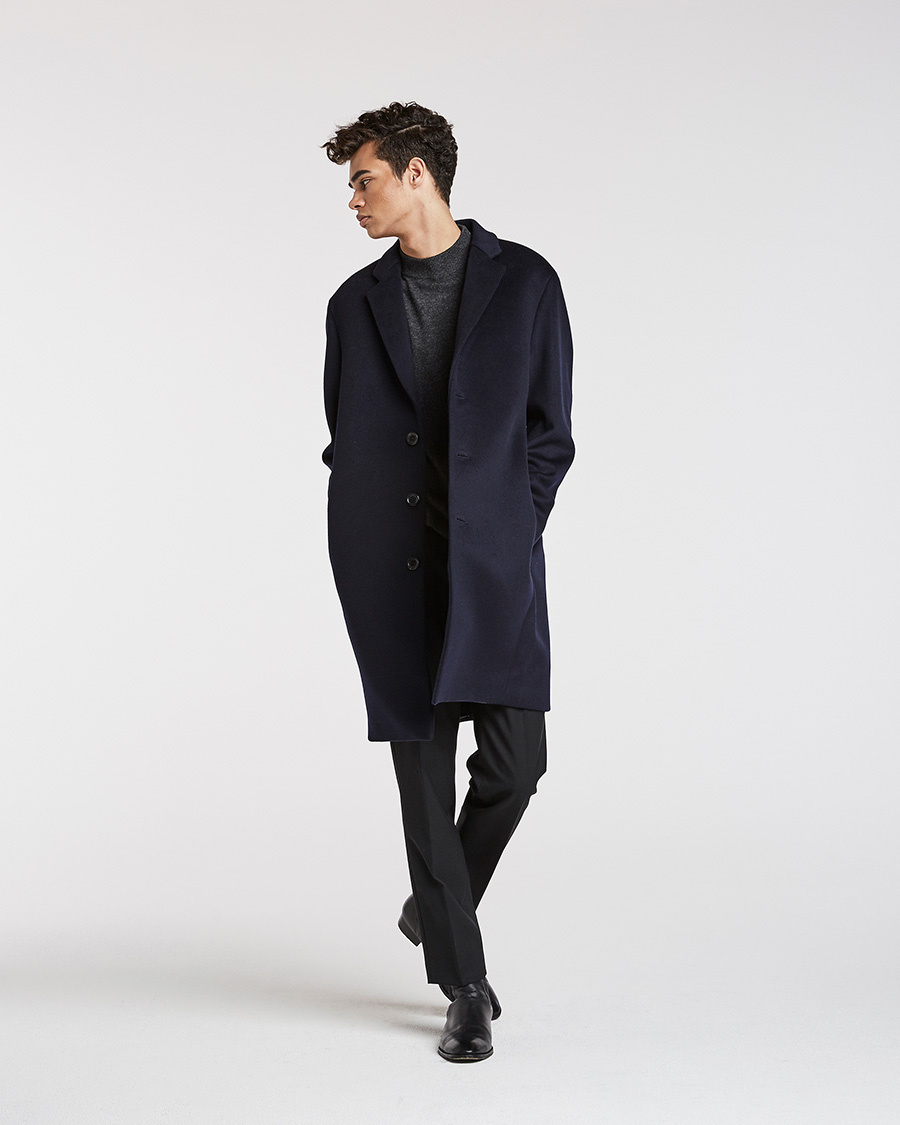 퍼스트플로어(FIRSTFLOOR) [17 F/W] THE EASY COAT (DARK NAVY cashmere blended)