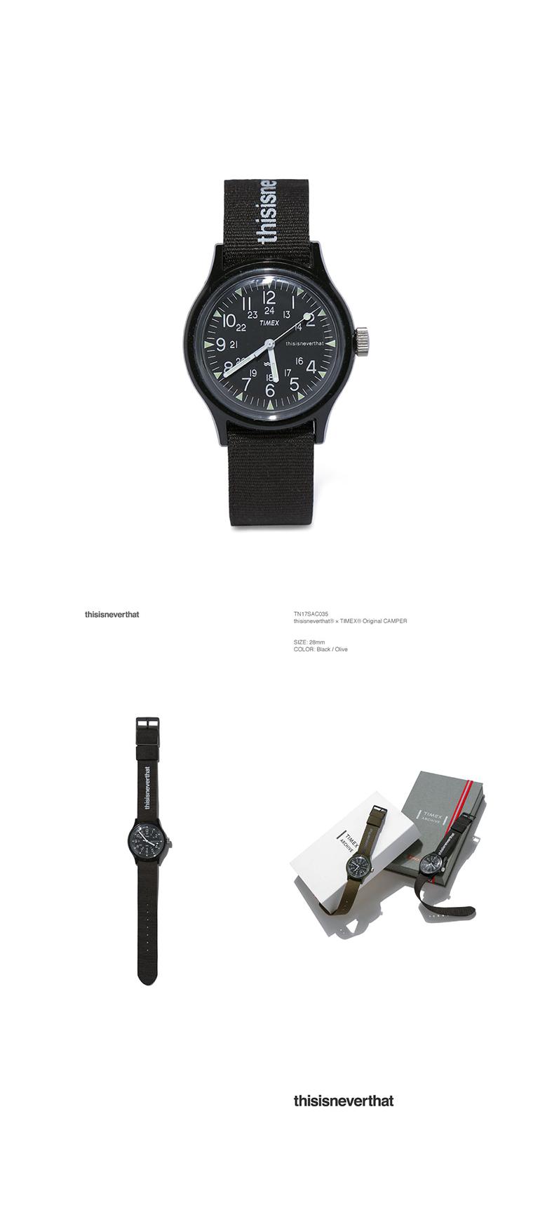 디스이즈네버댓(THISISNEVERTHAT) thisisneverthat ® × TIMEX ® Original CAMPER Black