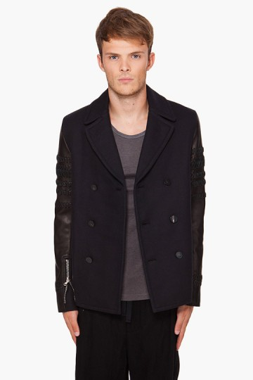 3.1 Phillip Lim Braided Sleeve Peacoat
