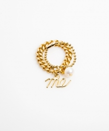 [usual M.E] thin chain & ball chain layered rings (골드색상)