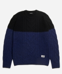 TWEED BLOCK FISHERMAN KNIT [BLACK/BLUE]