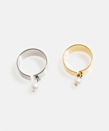 [usual M.E] Drop pearl simple ring (2 colors)