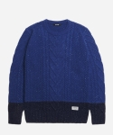 NEP BLOCK FISHERMAN KNIT [BLUE/NAVY]