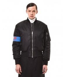 EMBROIDERED NYLON BOMBER JACKET (BLACK)