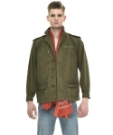 씨오엠이(come) HONEY MOON EMBROIDERED COTTON-TWILL FIELD JACKET (MILITARY GREEN)