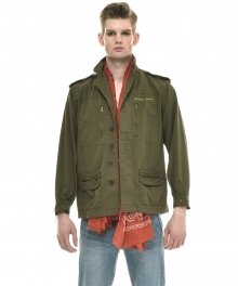 HONEY MOON EMBROIDERED COTTON-TWILL FIELD JACKET (MILITARY GREEN)