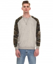 CAMOUFLAGE PRINT-PANELLED COTTON-JERSEY SWEATSHIRT (GREY)