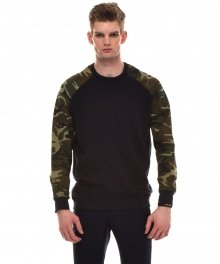 CAMOUFLAGE PRINT-PANELLED COTTON-JERSEY SWEATSHIRT (NAVY)