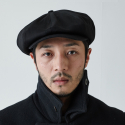 밀리어네어햇(MILLIONAIRE HATS) Rugged fabric newsboy cap [BLACK]